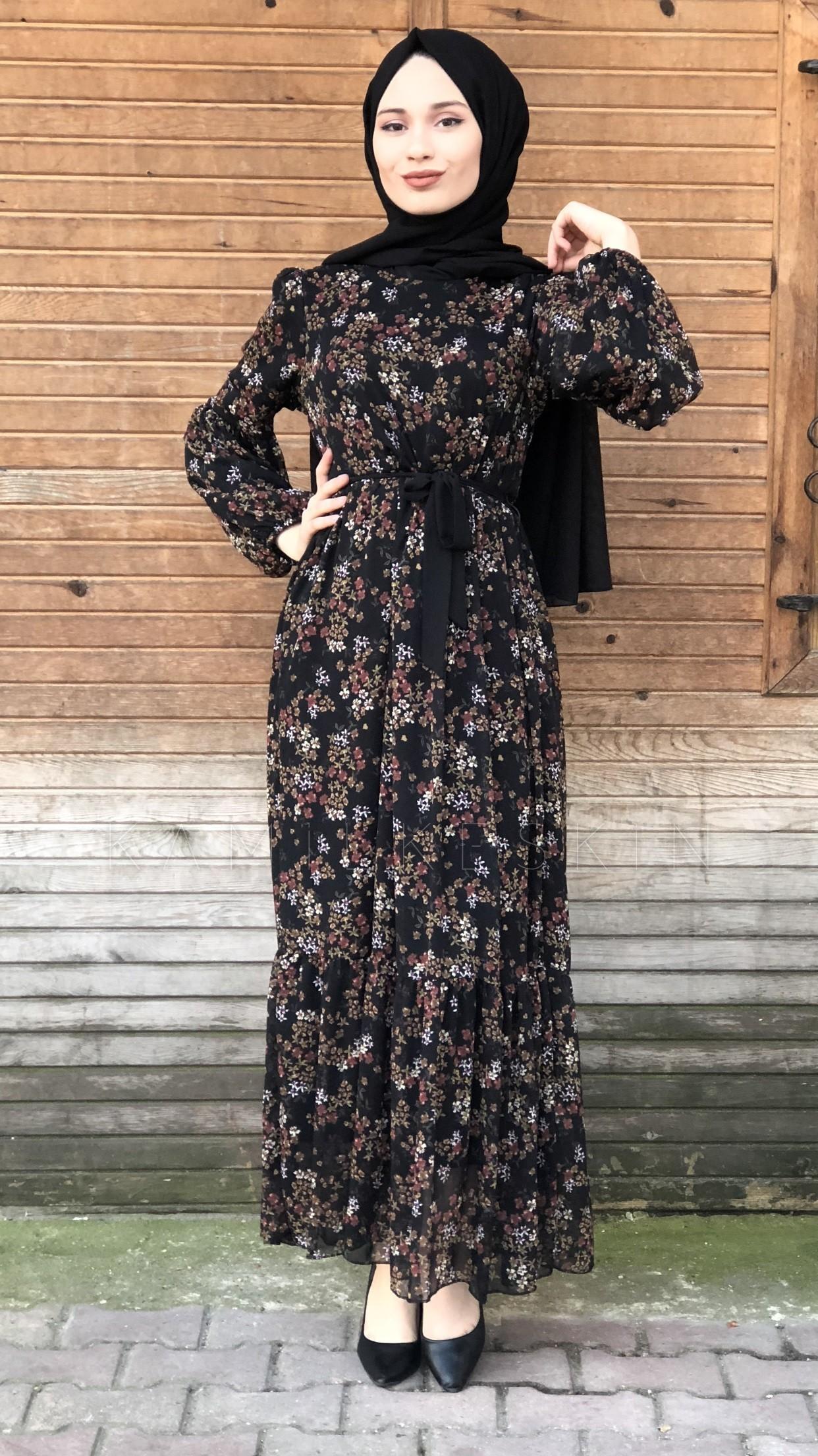 268fe9525514f Siyah Çiçek Desenli Elbise - PI0573 | Kamil Keskin Tesettür Giyim
