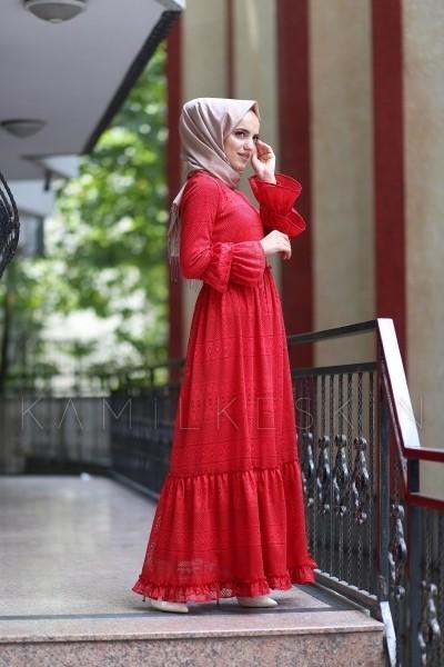 d763318f20d6c Kırmızı Elbise Dantel Kat Kat - KY0118 | Kamil Keskin Tesettür Giyim
