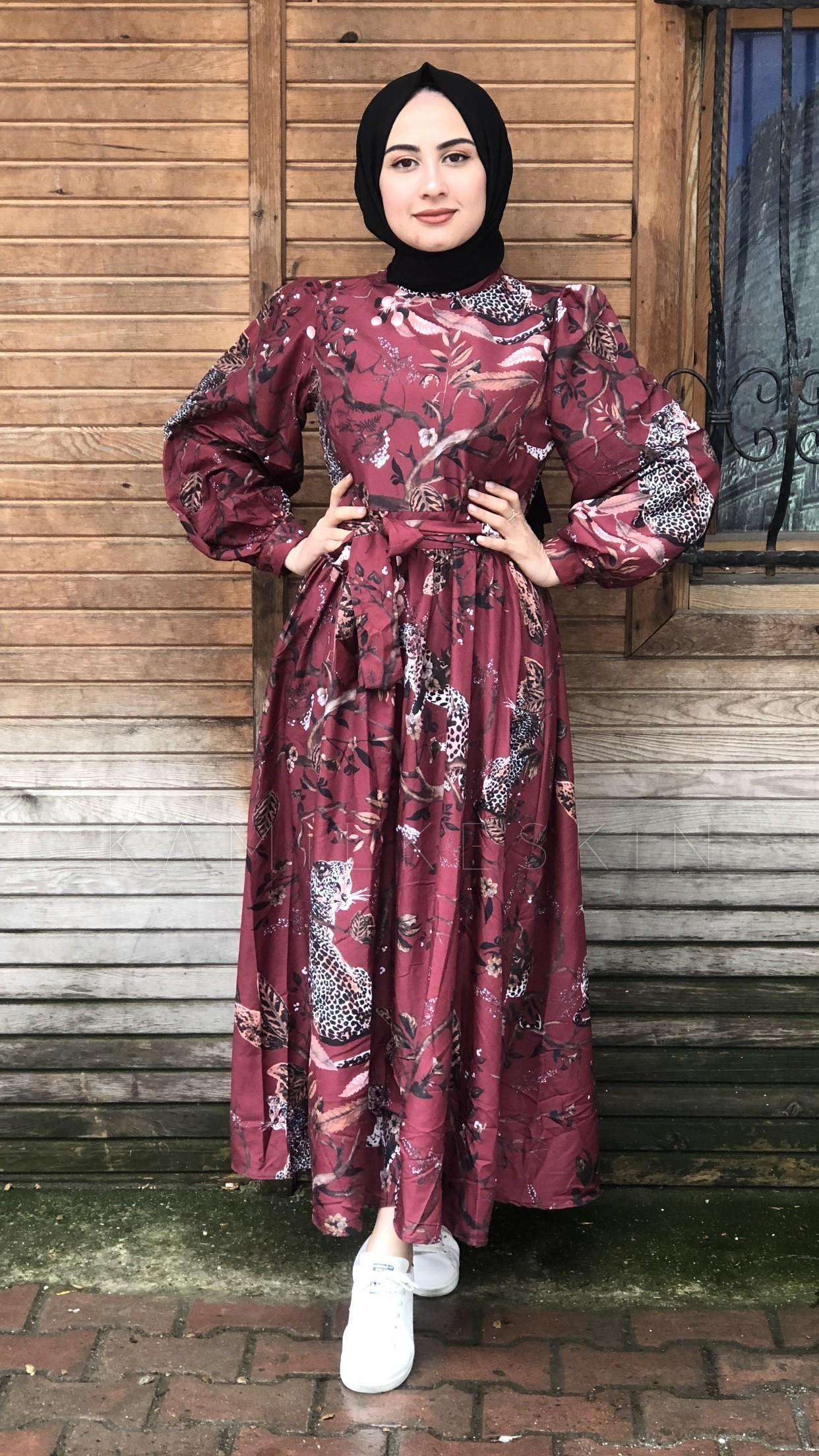 bcb76f9d65519 Bordo Yaprak Desenli Elbise - FA26014 | Kamil Keskin Tesettür Giyim